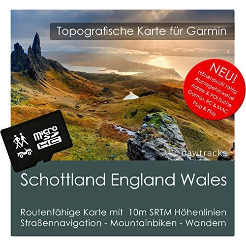 Schottland England Wales Garmin Karte TOPO 4GB microSD. Topografische GPS Freizeitkarte für Fahrrad Wandern Touren Trekking Geocaching & Outdoor. Navigationsgeräte, PC & MAC Streetpilot-adapter