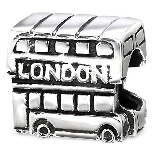 So Chic Schmuck - Charm Bus Perlen Sterling Silber 925 - Für Pandora, Trollbeads, Chamilia, Biagi-Schmuck Geeigneter Charms-Anhänger