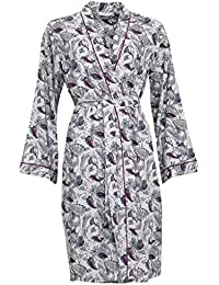 Cyberjammies 3237 Women's Harriet White with Aqua Blue and Burgundy Cotton and Modal Dressing Gown Loungewear Bath Robe Robe