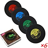 PBELE 6x Retro CD Record Vinyl Coffee Drink Cup Mat Coasters Chic Silicone Tableware UK stock