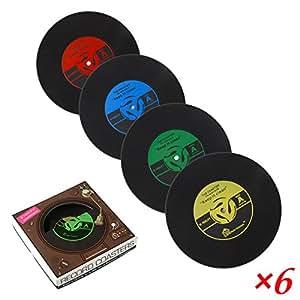 PBELE Lot de 6dessous-de-tasse de style rétro en silicone en forme de disque vinyle Pour café et boisson