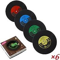 6 x PBELE CD Record de café de vinilo Retro bebidas alfombrilla de vajilla Chic posavasos de silicona almacén en Reino Unido