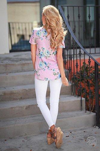 BZLine - T-shirt à Motif Floral en Polyester - à Manches courtes - Femme C