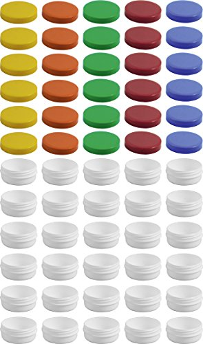30 Salbendöschen, Creme-döschen, Salbenkruke flach, 12ml Inhalt mit farbigen Deckeln - MADE IN GERMANY