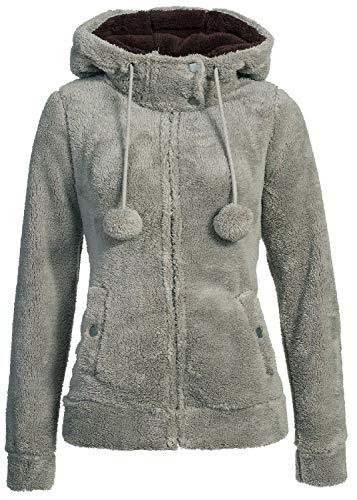 Urban Surface Damen Teddy Fleecejacke mit Öhrchen und Kapuze | Kuscheliger Zip Kapuzenpullover, Größe:XS, Farbe:Mid Grey