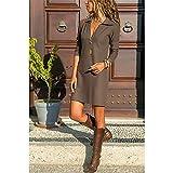 Swallowuk Blusenkleider Damen Lange Ärmel Sommerkleider Hemd Kleid Minikleid Longshirt Tunika Hemd Tunika Dress (3XL, Khaki)