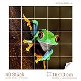 Graz Design 765357_15x10_80 Fliesenaufkleber Wasser - Frosch für Kacheln | Wand-Deko für Bad/Küchen-Fliesen (Fliesenmaß: 15x10cm (BxH)//Bild: 80x80cm (BxH))
