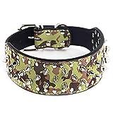 WENXX Hundehalsband Großer Hund, Personalisierte Niet Haustier Halskette Hund Ring, Großes Leder Hundehalsband, Militär Grün, Herrschsüchtig,