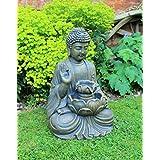 Maison Hut Bouddha Fontaine de Jardin Décoration extérieure LED Bronze 50 cm