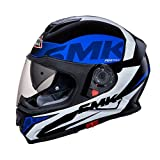 #3: SMK MA251 Twister Logo Graphics Pinlock Fitted Full Face Helmet With Clear Visor (Matt Black, Blue and White, L)
