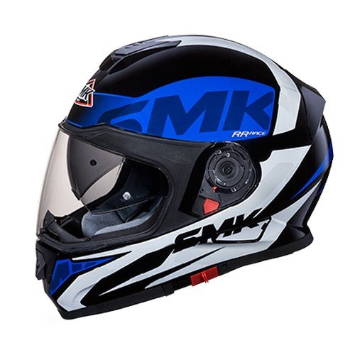 SMK MA251 Twister Logo Graphics Pinlock Fitted Full Face Helmet With Clear Visor (Matt Black, Blue and White, L)
