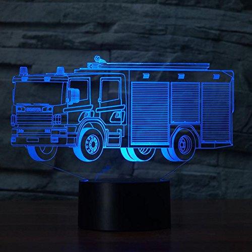 feuerwehrlampe 3D Feuerwehr Auto Optische Illusions-Lampen, Tolle 7 Farbwechsel Acryl berühren Tabelle Schreibtisch-Nachtlicht mit USB-Kabel für Kinder Schlafzimmer Geburtstagsgeschenke Geschenk
