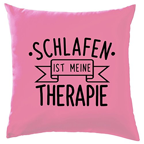 Schlafen ist meine Therapie - Dekokissen 41 x 41 cm - Rose