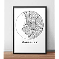 Plakat Marseille Frankreich Minimalist Map - City Map, Dekoration, Geschenk