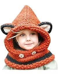 Kfnire gorros de punto cálidos bebé gorros de animales lindos fox sombrero y bufanda gorros gorras