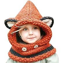 Kfnire gorros de punto cálidos bebé gorros de animales lindos fox sombrero  y bufanda gorros gorras 5587e093fb4