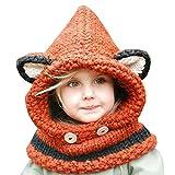 Kfnire Cappelli a Maglia, Beanies della Sciarpa del COF Cappuccio Animale della Volpe (Arancio)