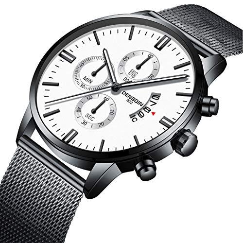 Herren Uhren Günstig Edelstahl,Herren Armbanduhr Schwarz Silber,Datumsanzeige,Herren Uhr Analog Quartz Uhr Männer Luxus Quarzuhr Mesh Armband Herrenuhren (A)