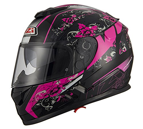 nzi cascos integrales, mega her black pink, talla s