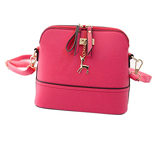 Longra Nuovo Donne Messenger Borse Vintage Piccolo Shell borsetta di pelle casual Borsa (Rosa)