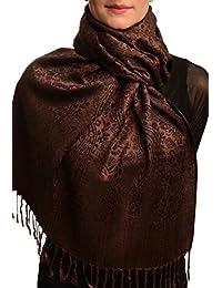 Chocolate Brown & Black Paisleys Pashmina Feel With Tassels - Brown Pashmina Floral Scarf