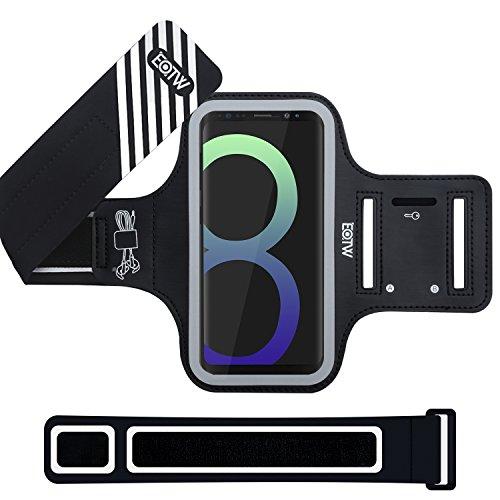 EOTW Brazalete Deportivo Para Samsung Galaxy S8 con Extensor Correa Banda para el brazo Brazalete Correr con bolsillo para llaves auriculares tarjetas y teléfono para running corriendo Ejercicio Negro