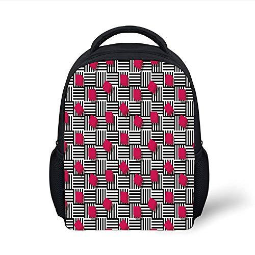 Kids School Backpack Teen Room Decor,Abstract Geometric Minimalist Lines and Square Cubes Artful Print,Magenta Black White Plain Bookbag Travel Daypack Magic Line Square
