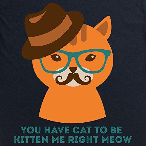Hipster Cat T-Shirt, Damen Schwarz