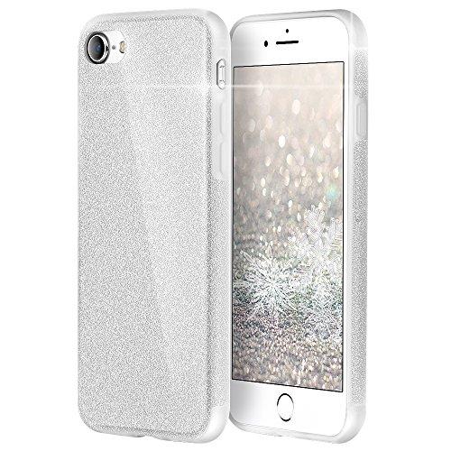 iPhone 8 Hülle Case, iPhone 7 Hülle Case, [Unterstützt kabelloses Laden (Qi)] EasyAcc glitzernde Schutzhülle, weiches TPU Bling-Bling, Glitzer, Glanz, Designer Case, stoßfest, glänzend, stilvoll, schützende Schale für iPhone 8 / iPhone 7- funkelndes Silber