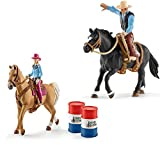 Schleich Farm Wolrld - Saddle bronc riding mit Cowboy 41416 Barrel racing Cowgirl 41417