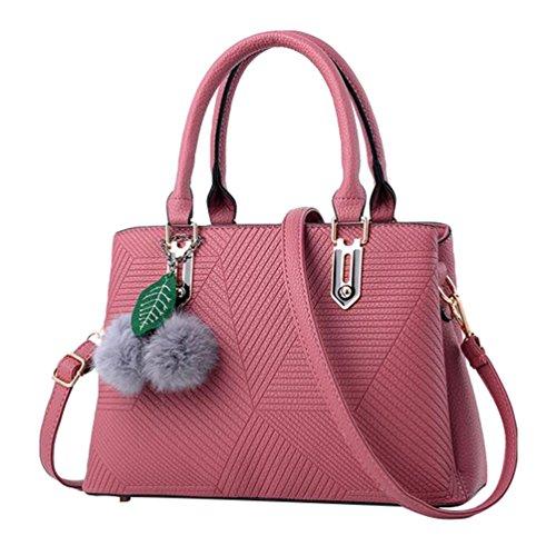 Baymate Damen Casual Handtaschen PU Leder Tote Schultertaschen Pink