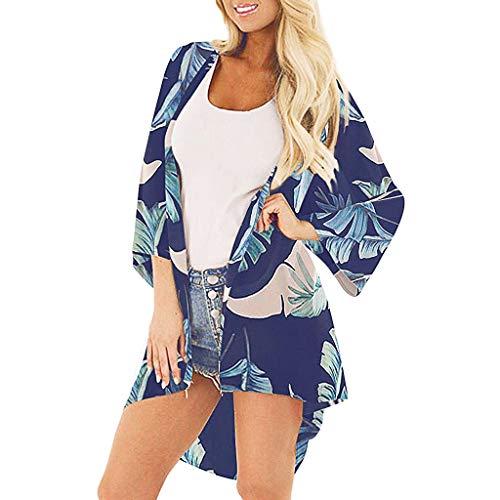LEXUPE Damen Mittelarm Chiffon Print Sandy Beach Strickjacke Smock Easy Bluse Tops(Marine,Large) (Sandy Gelb Kostüm)