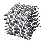AGDLLYD Lot de 6 galettes de Chaise Lea - Confortable et coloré - Idéal pour intérieur et extérieur - 40x40x5cm (Gris)