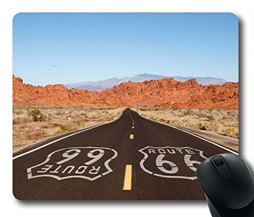 Gaming Mouse Pad, Route 66 Logo Personalized MousePads Natural Eco Rubber Durable Design Computer Desk Stationery Accessories Gifts For Mouse Pads