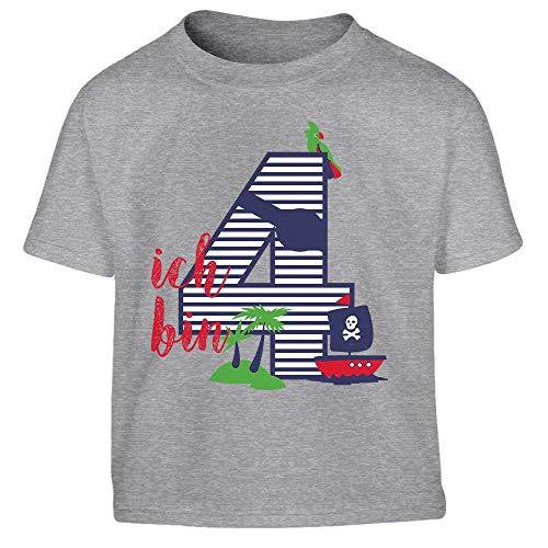 (Shirtgeil Ich bin Vier Geschenk Geburtstag Kleinkind Kinder T-Shirt - Gr. 86-116 106/116 (5-6J) Grau)