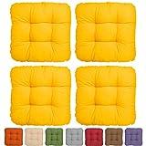 4er Set - Bequemes Stuhlkissen Lisa - 50x50x8 cm - Gelb - Besonders stark gepolstertes, weiches Sitzkissen