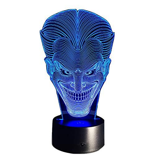 LYZHM Nachtlicht Geschenk Lächeln Gesicht 3D Lampe Charakter Lachend Joker Schreibtischlampe Mit 7 Farben Nachtlicht Halloween Licht