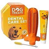 Natural Dog Treats Spazzolino de Denti e Dentifricio Set per Cani, Pulizia Dentale 100% Naturale Gomma Giocattolo da Masticare