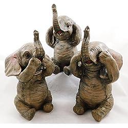 Figura decorativa de 3 elefantes sentados, pintada a mano, 3525