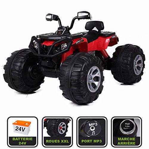 Monster Quad électrique 24V pour enfant Cristom Connexion MP3 - MODELE XXL (ROUGE)