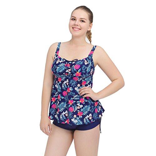 SZH YIBI Frau Größe Bikini Europa und den Vereinigten Staaten und Kanada die Stärke der festen Farbe Badebekleidung hohe Elastizität zu erhöhen Navy
