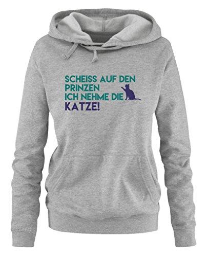 Comedy Shirts - Scheiss auf den Prinzen, ich nehme die Katze - Damen Hoodie - Grau / Türkis-Lila...
