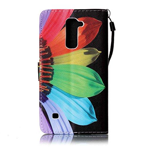 LG G Stylo 2/Stylus 2/LS775/K520 Hülle [Bildschirmschutz aus gehärtetem Glas], Grandoin Retro Leder Foliant Stoßabfangende Hülle, exzellente Qualität buntes elegantes Muster Design Premium PU Verschlu Colour flower