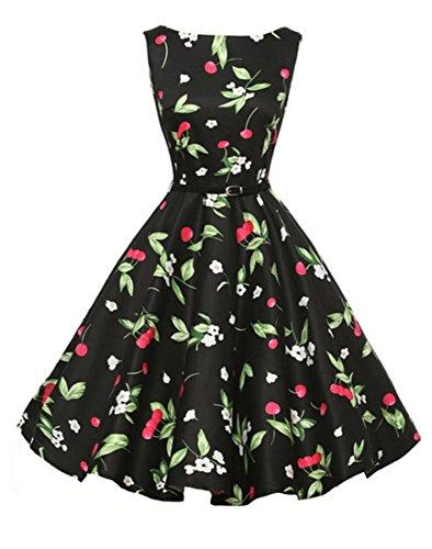 Boatneck 1950s Jahre floral bedruckt ärmelloses Vintage Retro große Schaukel Kleid für Frauen (Kleid Womens Boatneck)