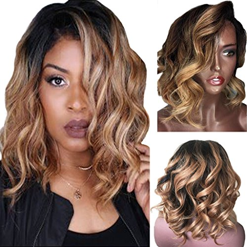 Googoo Human Hair Brazilian Wigs Lace Front Wig Virgin Hair 12inch Short Human Hair Wigs With Baby Hair Ombre Black To Blonde 130 Density Glueless