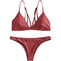 ZAFUL Bikini Set Imbottite, Sexy Costume da Bagno Push up, Reggiseno a Spalline Swimwear