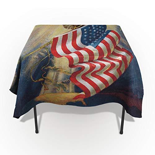 Vintage Memorial Day Tischdecken für Tischdecke, Baumwolle Leinen Stoff Tischdecke für Esszimmer Küche Unabhängigkeit USA Flagge 4. Juli American Bald Eagle Dekorativ 60'' x 104'' Nationalflag1ldu7005