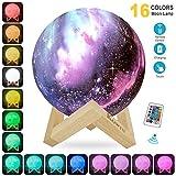 Lampara de Luna Colorida 3D, KOWTH Luz de Luna LED de 16 Colores con Soporte y Control Remoto y USB...