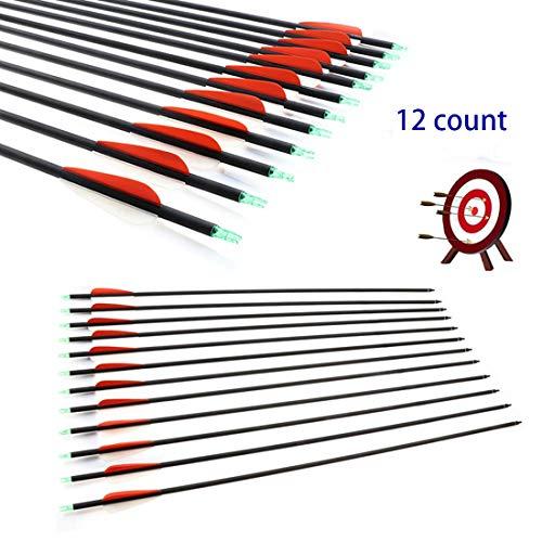 RunFa 12 er 30 Zoll Pfeile für bogenschießen 900 Carbon Pfeile für Bogensport mit kunstfedern Jagdpfeile für Bogen Recurvebogen Langbogen und Compound Bogen