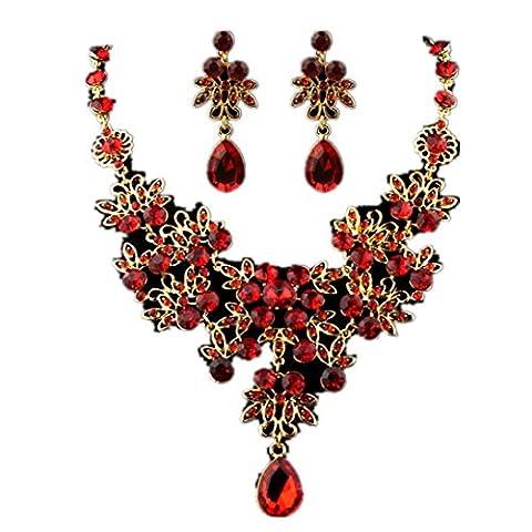 Charm Gemstone Necklace Earrings Set Prom Wedding Bridal Jewelry Crystal Rhinestone Necklace Earring Set Lanspo
